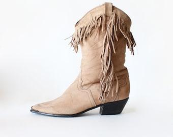 Vintage Acme Fringe Leather Boots, size 8.5