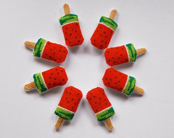 Watermellon Ice cream sticks. Cross stitch brooches. Party favors. Cute Funny birthday gift. Kawaii . Gift under 15euros (1pc)