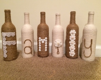 Family Twine Bottle Decor