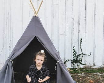 SALE!! Poles Included Teepee Play Tent Grey Gray Solid 4 Panel