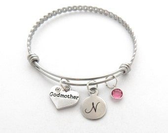 GODMOTHER GIFT, Godmother Bracelet, Gifts for Godmothers, Birthstone Charm Bangle, Godmother Charm, Initial Bracelet, INITIAL Jewelry