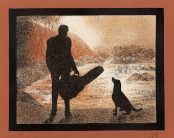 Natural sand painting 18x24 cm Guitarist and dog on the beach