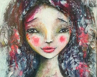 Mini Art E-Course ~ How to paint an Expressive Mixed Media American Indian Whimsy Girl with Tanya Cole
