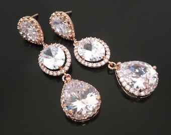 Rose Gold Bridal earrings, Crystal Wedding earrings, Bridal jewelry, Gold earrings, Long earrings, Bridesmaid earrings, Rose gold jewelry
