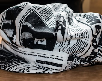 Newsboy Hat with Newspaper Print