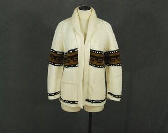 vintage 70s Sweater - 1970s White Brown and Black Ethnic Boyfriend Cardigan - Oversized Tribal Handknit Cowichan Sweater Sz L XL