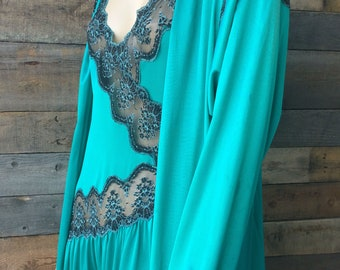 1980's Vintage Lingerie Nightgown and Robe Set a la Dynasty, Size Medium