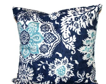 PILLOW - Throw Pillow, Pillow Cover, Navy Blue Throw Pillows, Decorative Pillow, Blue Turquoise Floral Pillow Designer Pillows Modern Pillow