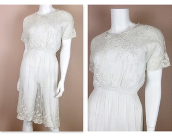 Vintage Ewardian White Dress / Embroidered, Whitework, Ehite Work Embroidery / Sheer Cotton / Summer Wedding / 1910s / Sz S / Wearable