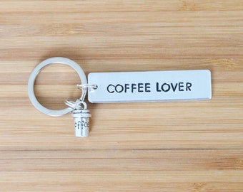 hand stamped keychain   coffee lover