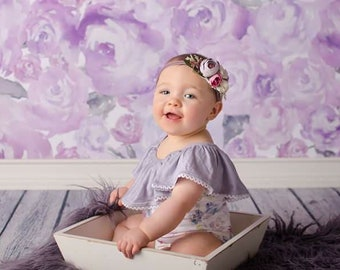 Lavender and Grace - 9-12 month off the shoulder romper in dusty purple, plum, lavender, lilac, dusty magenta, dusty blue, and teal (RTS)