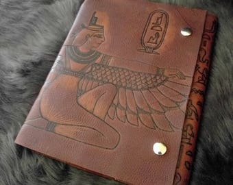 Isis Egyptian Goddess Brown Leather Journal/ Sketchbook/ Notebook/ Spellbook