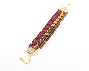 Cherry chocolate tones beaded multi strand stacking bracelet