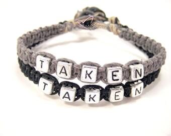 Taken Bracelets, Anniversary Gift, Custom Bracelet, Couples Bracelets, Black Grey Hemp Bracelets, Couples Gift, personalized Jewelry