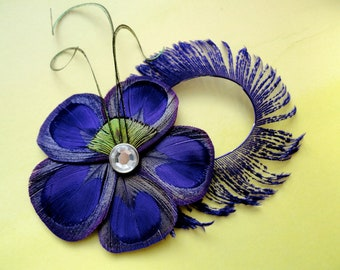 ALLY II Purple Peacock Feather Flower Hair Clip, Feather Fascinator