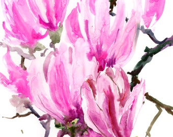 Magnolia, abstract, Pink white green painting, original watercolor painting, white pink magnolia flowers. brush painting Asian, floral