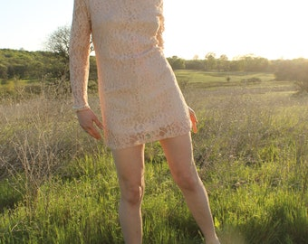 ROSEMARY Lace Mini Dress Vintage Bridal Pink Lace 1960s Shift Dress