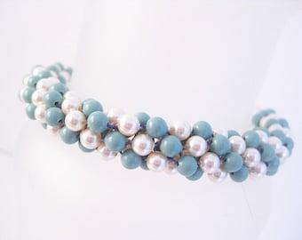 Kumihimo Beaded Bracelet with Cream and Jade Swarovski Crystal Pearls