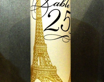 Eiffel Tower French Luminary Centerpiece - 8.5 inch - Table Number Wedding Reception Papers - Quincenera Party - Wedding Table Decoration