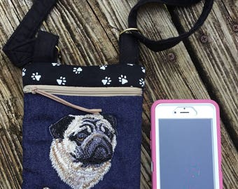 Embroidered Pug mini cross body bag or cell phone zippered bag