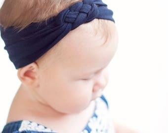 Headband, Celtic Knot Headband, Headbands, Baby Headbands, Turban Headband, Top Knot, Head Wrap, Infant Headband, Baby Gift - Solid Navy