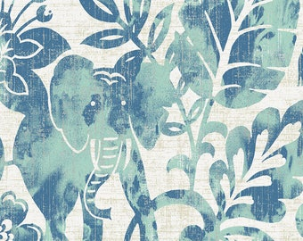 Denim and Mint Jungle Organic Fabric - By The Yard - Boy / Girl / Gender Neutral