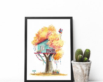 Treehouse Series 24 Watercolor Art Print - Digital Download