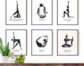 Yoga Print Yoga Poster Yoga Art Yoga Studio Decor Yoga Wall Art Black and White Wall Art Zen Art Decor Gift for Yogi Yoga Posture Painting