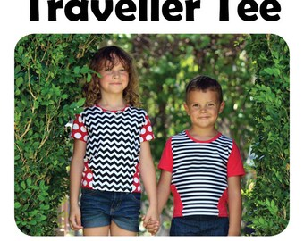 Traveller Tee pdf sewing pattern 2T-8 unisex
