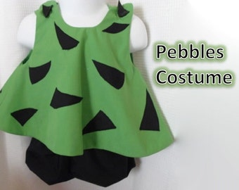 Pebbles Flintstone Costume Dress with Appliqué and Bloomers sizes 3 months through 4T