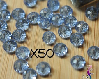 50 silver 8 x 6 mm light blue faceted