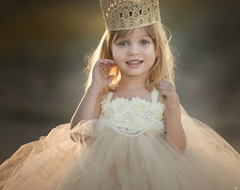 Champagne Flower Girl Dress / Champagne Tutu Dress / Champagne Tulle Dress / Champagne Dress / Champagne Wedding / Champagne / Ivory Dress