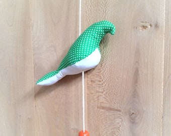 Bird mobile, small model, green and pink