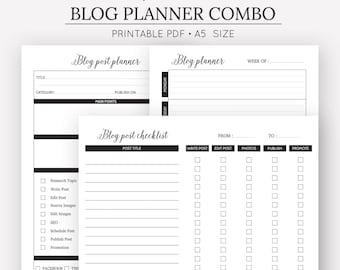 Blog Planner Combo   Blog Post Planner   Blog Post Checklist   A5 Printable Planner Inserts   Planner Inserts   Digital Download
