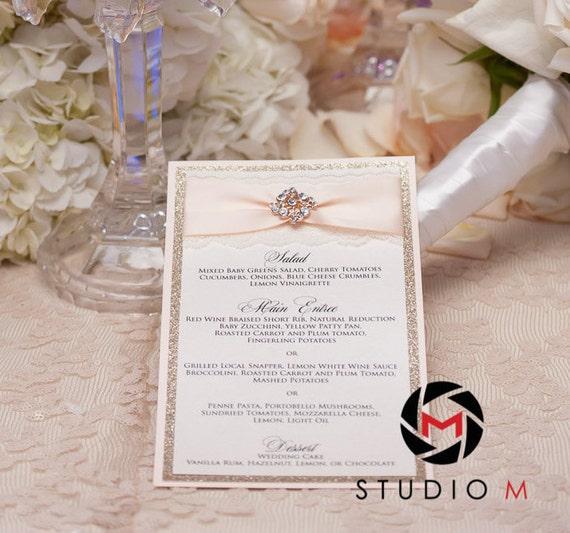 Blush and Gold Glitter Menu - Ivory Lace Wedding Menu - Vintage Glamour Menu - Couture Wedding Menu - Rhinestone Brooch (REBECCA MENU)