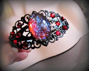 Dragons Breath Opal Cuff, Red and Black Bracelet, Gothic Cuff, Black Filigree Cuff, Swarovski Rhinestones, Adjustable Cuff