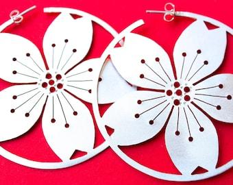 Big Sterling Silver Sakura Hoops