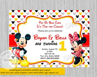 TWINS Mickey Minnie Mouse Baby Shower Invitations Two Babies