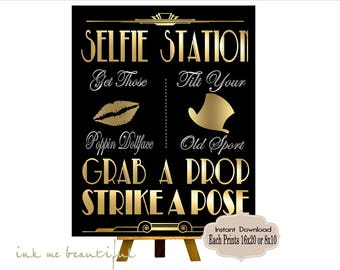 Great Gatsby PRINTABLES, Selfie Station, Photobooth sign*Gatsby party decoration, Roaring 20s Art deco*Wedding photobooth sign*Grab a prop