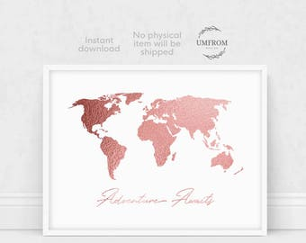 Rose Gold World Map / Rose Gold Map / Rose Gold Decor / Rose Gold Wall Art / Rose Gold Artwork / Rose Gold Print / Adventure Awaits