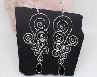 Black Onyx Earrings, 925 Silver Earrings, Black Stone Earrings, Long Drop Earrings, Floral Twisted Silver Wire Earrings, Designer Earrings