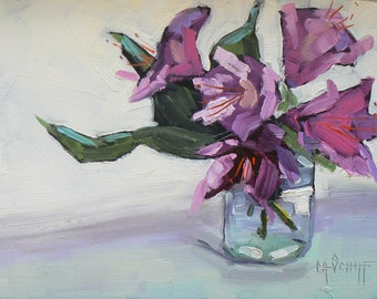 Flower Painting, Impressionist art,   Floral Still Life, Daily Painting,  Rhododendron, 6x8 Original Oil Painting, Free Shipping in US