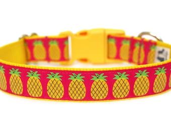 """Pineapple Dog Collar 1"""" Summer Dog Collar"""