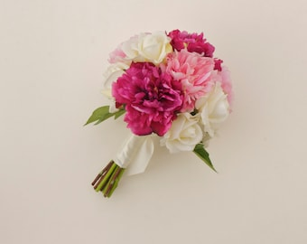 Pink Peony Bouquet (Real Touch Flower Bouquet) Dark Pink Peony, Light Pink Peony, Ivory Roses