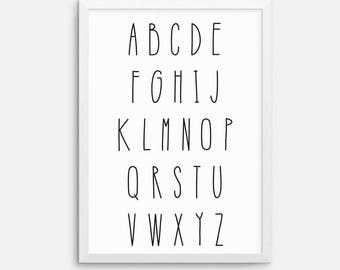 Instant download - Alphabet kids childrens art printable, downloadable print, printable quote, wall art quote, black white - 8x10 A4
