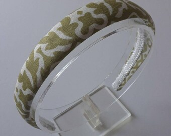 Fabric Headband-Women Headband-Off White and Green  Leaves Patterns Headband- -