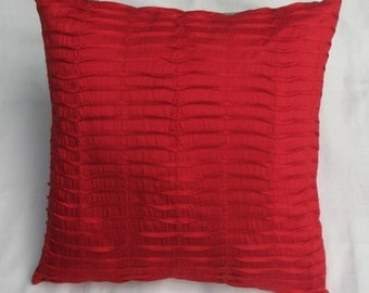 bright red pleated euro sham  pillow.  decorative cushion cover. Red art silk  pleted  cushion cover. 26inch.  custom made