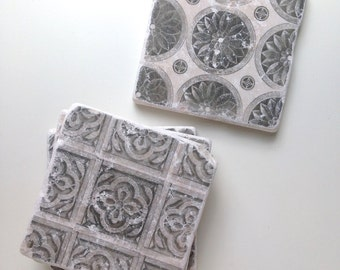 Vintage Tile Coasters, Tin Tile Coasters, Vintage Engraving Gift, Traditional Home