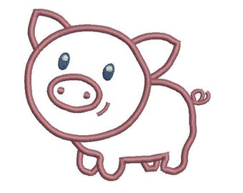 6 sizes - Baby Pig Applique Design, Pig Applique Design, Baby Applique Embroidery Design, Cute Farm Kids Applique Design, Instant Download