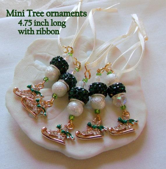 Gold Skating favors - rhinestone green tree ornaments - good luck charms - Olympic keepsakes - Ice skate glitz favors -  zip pull Gift